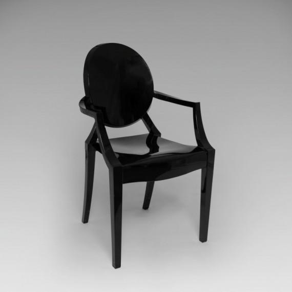 Cadeira Louis Ghost Acrílico Preta 0,48 x 0,45 x 0,92