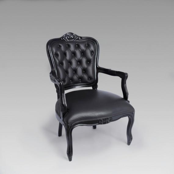 Poltrona Luís XV Captonada Preta 0,61 x 0,60