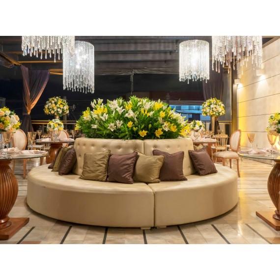Sofá Ilha Redonda Captonado Champagne 3,00 x 1,40